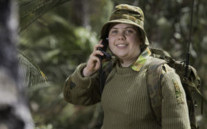 Australian Army Cadets trainee Cadet Sargent Sophie Miller, from 509th Army Cadet Unit, practises her radio telephone procedures at the annual cadet field exercise in Bindoon training area, north-east of Perth, on 1 October 2016.