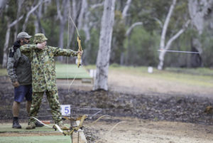 An Australian Army Cadets trainee competes in an archery competition during the annual field exercise in Bindoon training area, north-east of Perth, on 1 October 2016.