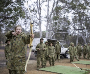 Australian Army Cadets trainees compete in an archery competition during the annual field exercise in Bindoon training area, north-east of Perth, on 1 October 2016.