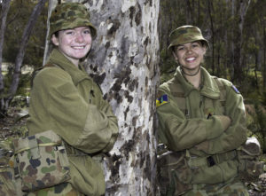 Australian Army Cadets trainees Cadet-under-Officer Cortnee Black (left), from 59th Army Cadet Unit, and Cadet-under-Officer Brodie Adams, from 58th Army Cadet Unit, chat between training activities during the annual field exercise in Bindoon training area, north-east of Perth, on 1 October 2016.