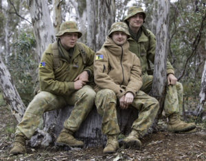 Australian Army Cadets trainees relax between training activities during the annual field exercise in Bindoon training area, north-east of Perth, on 1 October 2016.