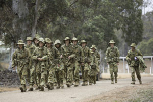 Australian Army Cadets trainees march to a training activity during the annual field exercise in Bindoon training area, north-east of Perth, on 1 October 2016.