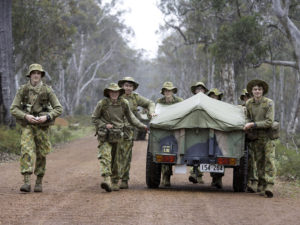 Australian Army Cadets trainees take part in a dead trailer towing competition during the annual field exercise in Bindoon training area, north-east of Perth, on 1 October 2016.