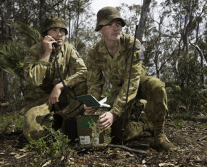 Australian Army Cadets trainees practise radio telephone procedures during the annual field exercise in Bindoon training area, north-east of Perth, on 1 October 2016.