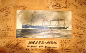 Photo of HMATS Afric with signatures of the members of the 1st Field Coy Engineers.