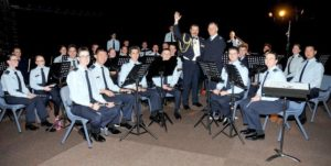 Chief of Air Force Air Marshal Leo Davies mingles with the Australian Air Force Cadets National Orchestra during a National Dinner in Canberra that celebrated 75 years of continuous community service to the community.