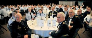 Chief of Air Force Air Marshal Leo Davies and other senior RAAF and AAFC officers at the National Dinner in Canberra.