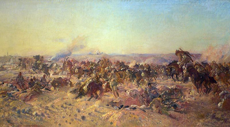 The Charge of the Australian Light Horse at Beersheba, 1917, painted by George Lambert in 1920 (Australian War Memorial collection), depicts Australian troopers with bayonets in hand and rifles slung across their backs during the charge on Beersheba.