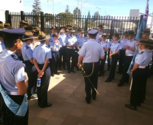 Commanding Officer 711 (City of Greater Geraldton) Squadron FLTLT(AAFC) David Power thanks cadets from 711 Squadron and 718 (Ceremonial) Flight for a job well done on parade.