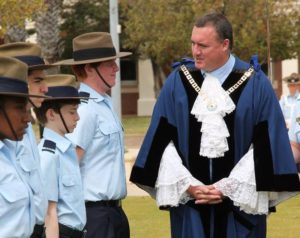 Mayor Shane Van Styn inspects 711 Air Force Cadets