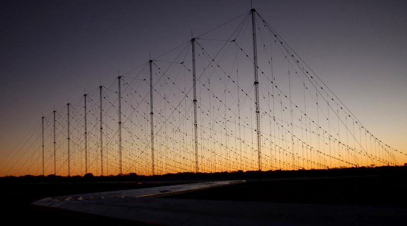 A Jindalee Operational Radar Network(JORN) transmitter site at Harts Range, Alice Springs. Photo by Leading Aircraftwoman Sonja Canty.