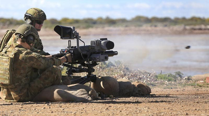 Australian Army soldiers from 1st Battalion, Royal Australian Regiment, test the new Mark 47 L40-2 lightweight automatic grenade launcher at Port Wakefield in South Australia on 2 September 2016. Photo by Craig Barrett.