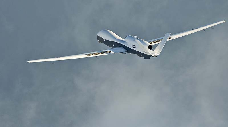 An MQ-4C Triton unmanned aircraft in flight. US Navy photo by Erik Hildebrandt.