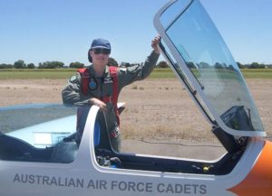 Cadet Corporal Ian Van Schalkwyk, 617 Squadron, Unley, ready for another flight. Cadet Corporal Van Schalkwyk qualified as a solo pilot (gliding) – four days after his 15th birthday. He's in Year 9, and hasn't even started driving lessons yet.