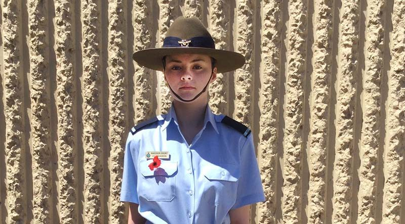 Cadet Madison Short from 613 Squadron (RAAF Edinburgh) at the 2016 Remembrance Day service at Tyndale Christian School, which she attends.