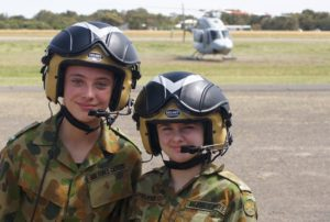 Cadet Ktarna Lewis (605 Squadron, Noarlunga) and Cadet Samantha Stevens (609 Squadron, Warradale Barracks) after disembarking from the RAN Bell 429.