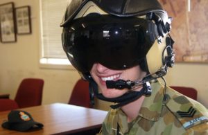 Cadet Sergeant Tristan Baldan from 601 Squadron at Keswick Barracks, south of Adelaide, ready to fly.