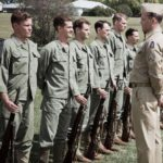 Former Aussie commando now actor Damien Thomlinson (left) on parade with Hacksaw Ridge stars Andrew Garfield and Vince Vaughn.