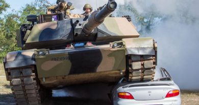 Australian Army soldiers from 2nd Cavalry Regiment demonstrate the power of their M1A1 Abrams tank as part of 3rd Brigade's Lavarack Barracks open day activities in north Queensland on Saturday, 3 September 2016. Photo by Sapper Josh Saurin.