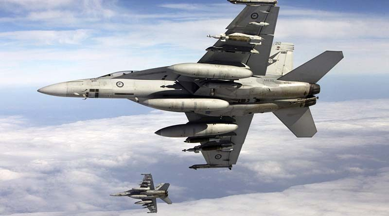 Two RAAF F/A-18F Super Hornets. Photo by Sergeant Andrew Eddie.