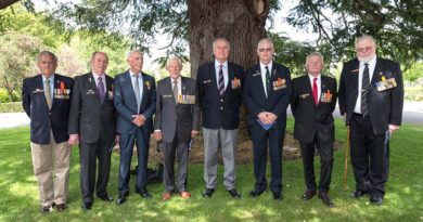 Australian Army veterans of the Battle of Long Tan after the special ceremony to honour the veterans with military honours at Government House in Canberra on Tuesday, 8 November 2016. Front left: Mr William Roche; Mr Noel Grimes; Mr Frank Alcorta, MG, OAM; Lieutenant Colonel Harry Smith (Retd), SG; Mr Geoffrey Peters; Mr Ian Campbell; Mr Neil Bextrum; and Colonel Francis Roberts (Retd), MG, OAM. Photo by Sergeant Janine Fabre.