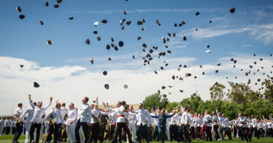 The class of 2016 throw their hats in the air to symbolise completion of three years military training and academic studies. They will now be posted to locations across Australia for further training or to commence their new postings. Photo by Michael Jackson-Rand