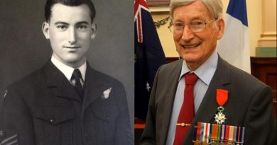 Bomber Command Flight-Sergeant Doug Leak in 1944, and in 2016.