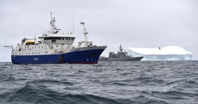 HMNZS Wellington on patrol in the Southern Ocean. RNZDF photo