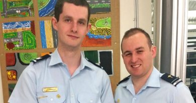 Cadet Sergeant Thomas Stagbouer and Flying Officer (AAFC) Simon Blair.