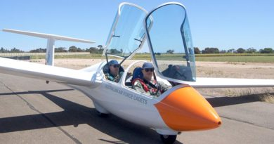 Cadet Corporal Ian Van Schalkwyk, No 617 Squadron, Unley, about to take off in an ASK-21 Mi two-seater glider at Gawler airfield in South Australia, with 600 Squadron's Chief Flying Instructor–Gliding, Pilot Officer (AAFC) Dennis Medlow.