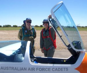 Cadet Corporal Ian Van Schalkwyk with 600 Squadron's Chief Flying Instructor–Gliding, Pilot Officer (AAFC) Dennis Medlow.