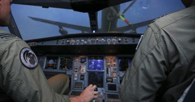 An real-life RAAF KC-30A flight crew prepares to take 'virtual fuel' from a virtual KC-30A fuel boom, which is actually being operated by a real-life fuel-boom operator somewhere else in the world. Northrop Grumman's distributed network environment will eventually allow real-life air crews flying any aircraft-type simulator anywhere in the real world to interact with other aircraft-type crews in a virtual world. Kind of like a global virtual game simulator, but with 'real' aircraft and real crews.