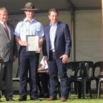 Young Citizen of the Year nominee CFSGT Walter Harris (No 622 Squadron, AAFC) receives his certificate at the Murray Bridge Australia Day Ceremony.