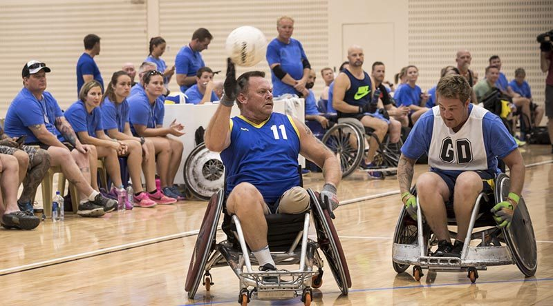 ADF and RSL members compete in wheelchair ruby as part of the 2017 Invictus Games selection trials, at the Australian Institute of Sport, Canberra. Photo by Lauren Larking.