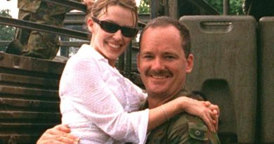 Kylie Minogue gets a pick-me-up from then Corporal Brian Hartigan in East Timor, reporting for ARMY News in 1999.