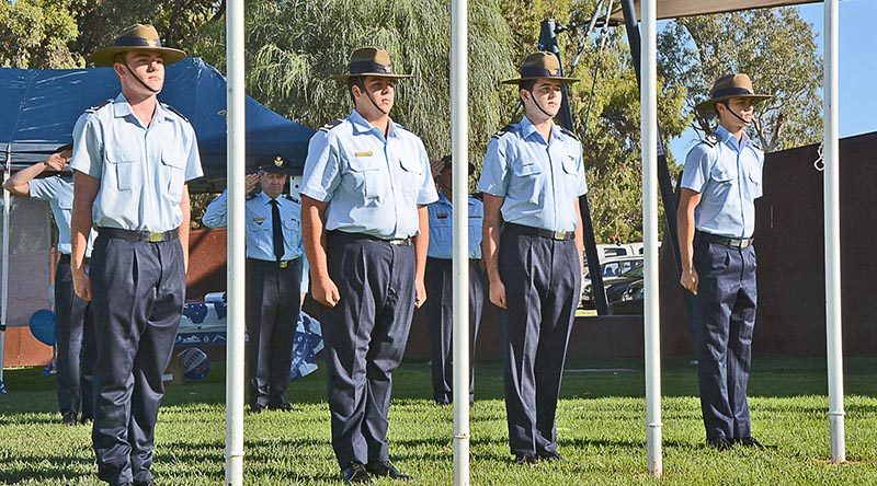 Air Force Cadets of No 623 Squadron AAFC on duty at the Mildura Flag Raising Ceremony (left to right): CCPL Shannon McKee, CSGT Josef Gerstenmayer, CSGT Lachlan Turlan and CUO Jacob Adolph. NOTE: Each cadet is wearing the rank slides of their previous ranks – all were promoted immediately before Australia Day and had not yet been issued their new rank slides.