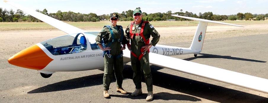 Flying Officer Kate Pepper and Warrant Officer Rod Hamilton (both RAAF) after successfully completing the aerotow qualification at Gawler aerodrome in January.