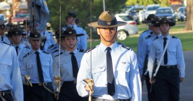 Parade Commander CFSGT Kyle Roberts (609 Squadron, Warradale Barracks), dux of the Cadet Under Officer Course.