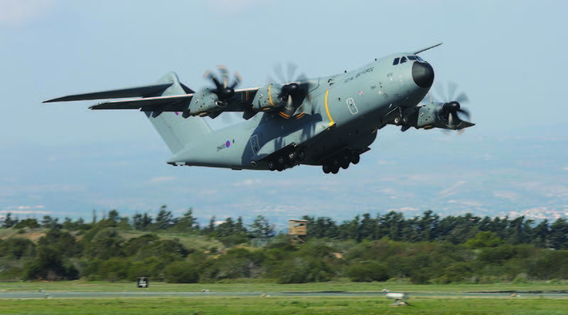 A Royal Air Force A400M Atlas. Crown Copyright. Photo by Corporal Rich Denton.