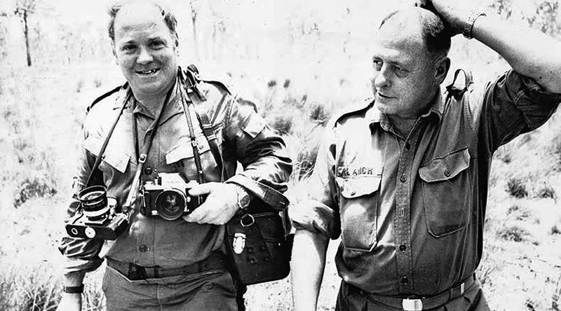 Billy Cunneen (left) – a legend in Australian Army Public Relations – with Ken Blanch in a photo taken at Shoalwarter Bay, Queensland, in the mid 1960s.
