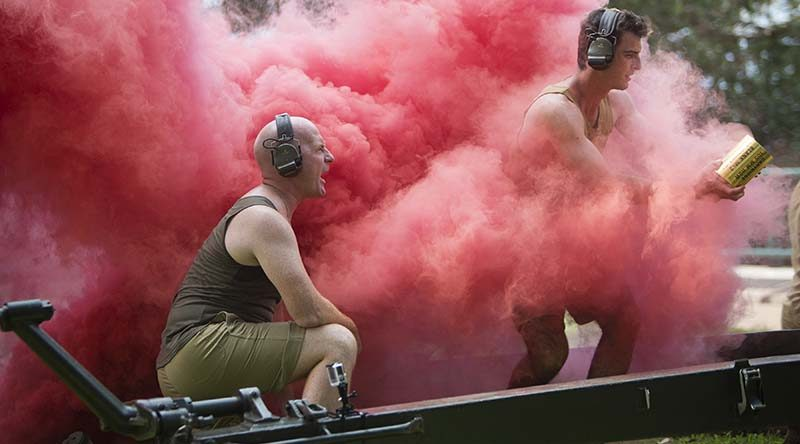 Members from 103 Battery, 8th/12th Regiment, Royal Australian Artillery, take part in a depiction of the Bombing of Darwin during the 75th Anniversary commemorative service on Sunday 19 February 2017 at the Darwin Esplanade. Photo by Able Seaman Kayla Hayes.