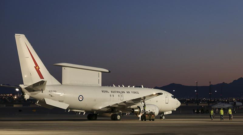 A Royal Australian Air Force E-7A Wedgetail on the flightline at Nellis Air Force Base during Exercise Red Flag 17-1. Photo by Brenton Kwaterski.