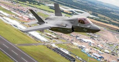 A USMC F35B performs a fly past of crowds at RAF Fairdord on Friday 8th July 2016 during the Royal International Air Tattoo. Crown Copyright 2016. Photo by SAC Tim Laurence.