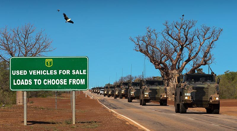 Australian Army Bushmaster protected mobility vehicles from 1st Brigade drive along the Great Northern Highway during Exercise Northern Shield 2016. Original photo by Corporal David Said – digitally altered by CONTACT.