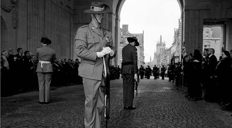 Australia's Federation Guardsman, Trooper David Nicolson, ANZAC Catafalque Party for the 100th Anniversary of Anzac Day service at Menin Gate, Belgium. Corporal Steve Duncan