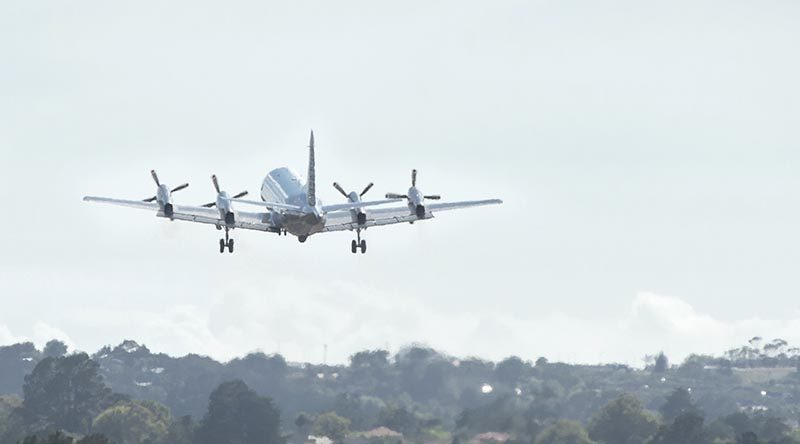 P-3 Orion leaves Royal New Zealand Air Force Base Whenuapai on it's way to conduct maritime security opperations in the Middle East. NZDF photo.