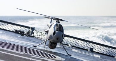 A CAMCOPTER® S-100 operated by the German Navy. Photo supplied by Schiebel.