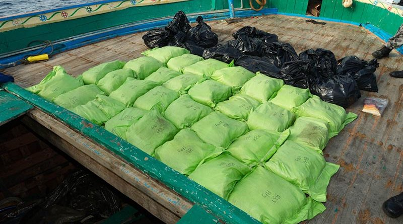 While on patrol in the Middle East region, HMAS Arunta conducted a boarding and discovered about 800kg of illegal narcotics. Photo by Able Seaman Steven Thompson.