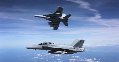 A pair of RAAF EA-18G Growlers en route to the Australian International Airshow at Avalon. Photo by Sergeant Mick Both.