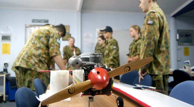 Air Force Cadets learn about radio-controlled aircraft during a preparation day at the Gawler Depot (left to right): LCDT Haralambos Varelias (613 SQN), CCPL Courtney Semmler and CSGT Casey Dibben (608 SQN), LCDT Samantha Stevens (609 SQN), CDT Adomas Neocleous (619 SQN), LCDT Hayley Whitehorn (608 SQN) and LCDT Elias Neocleous (619 SQN).